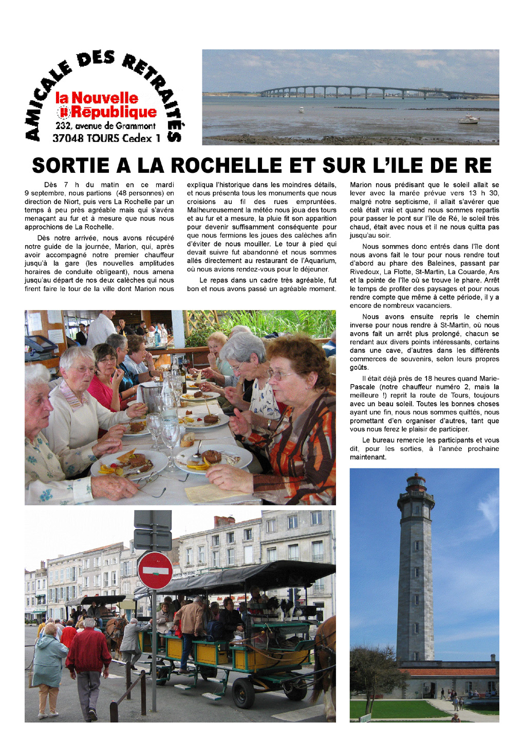 Journée à la Rochelle, amicale des retraités de la Nouvelle République