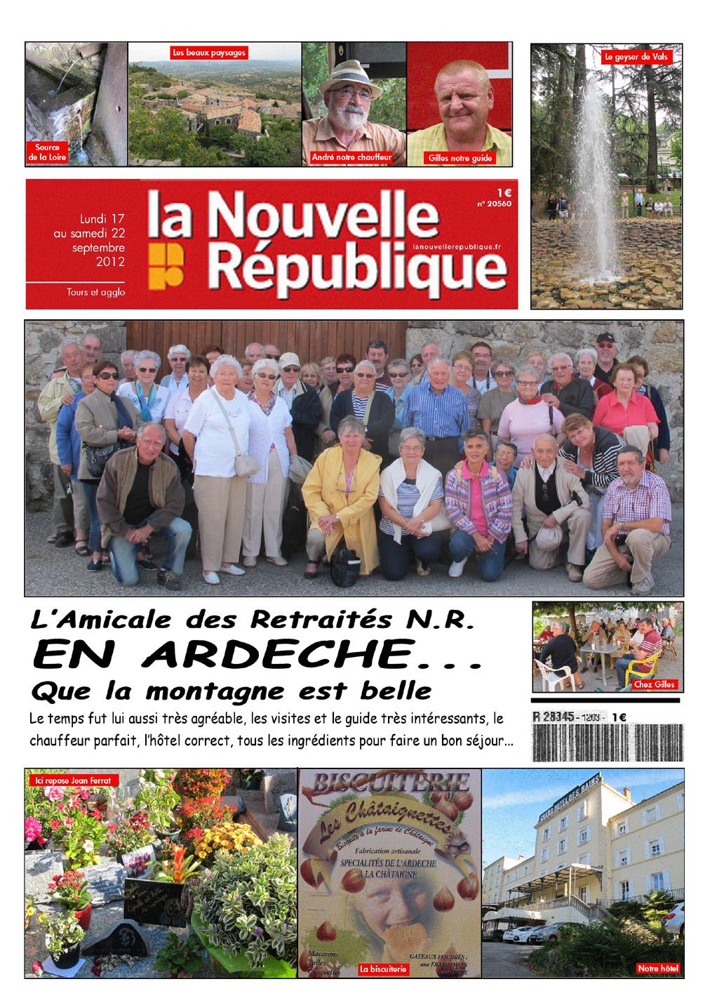 Les amicalistes de la Nouvelle République, voyage en Ardèche.