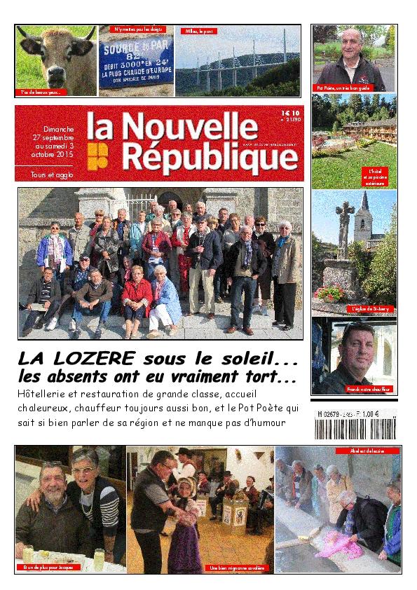 Octobre 2015, amicale des retraités de la Nouvelle République, une semaine en Lozère