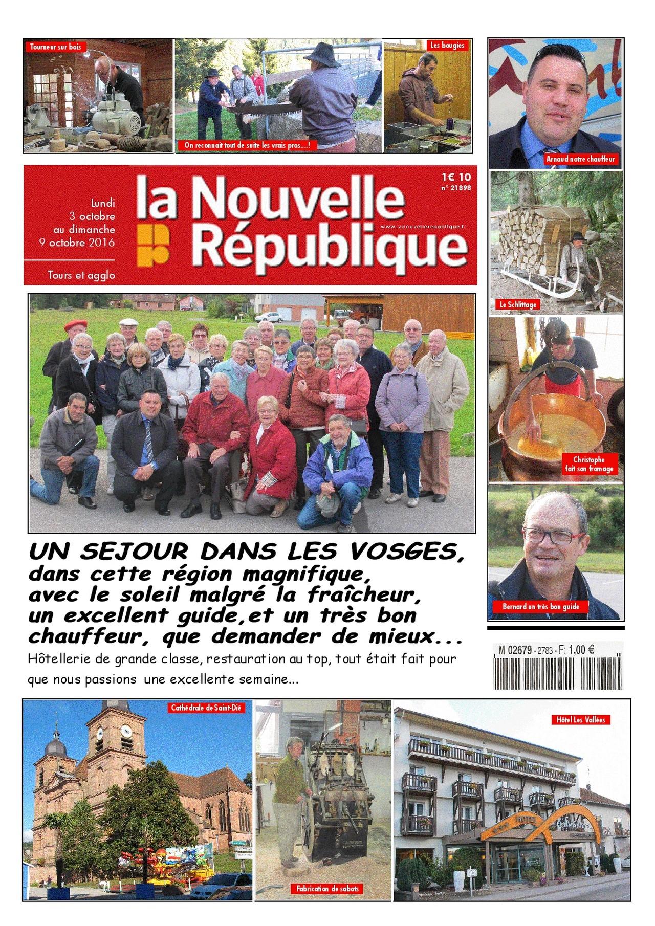 Amicale de retraités de la Nouvelle République, séjour dans les Vosges octobre 2016